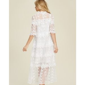 Knitted Lace A Line Polyester Whits